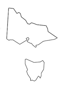 Outline picture of Victoria and Tasmania